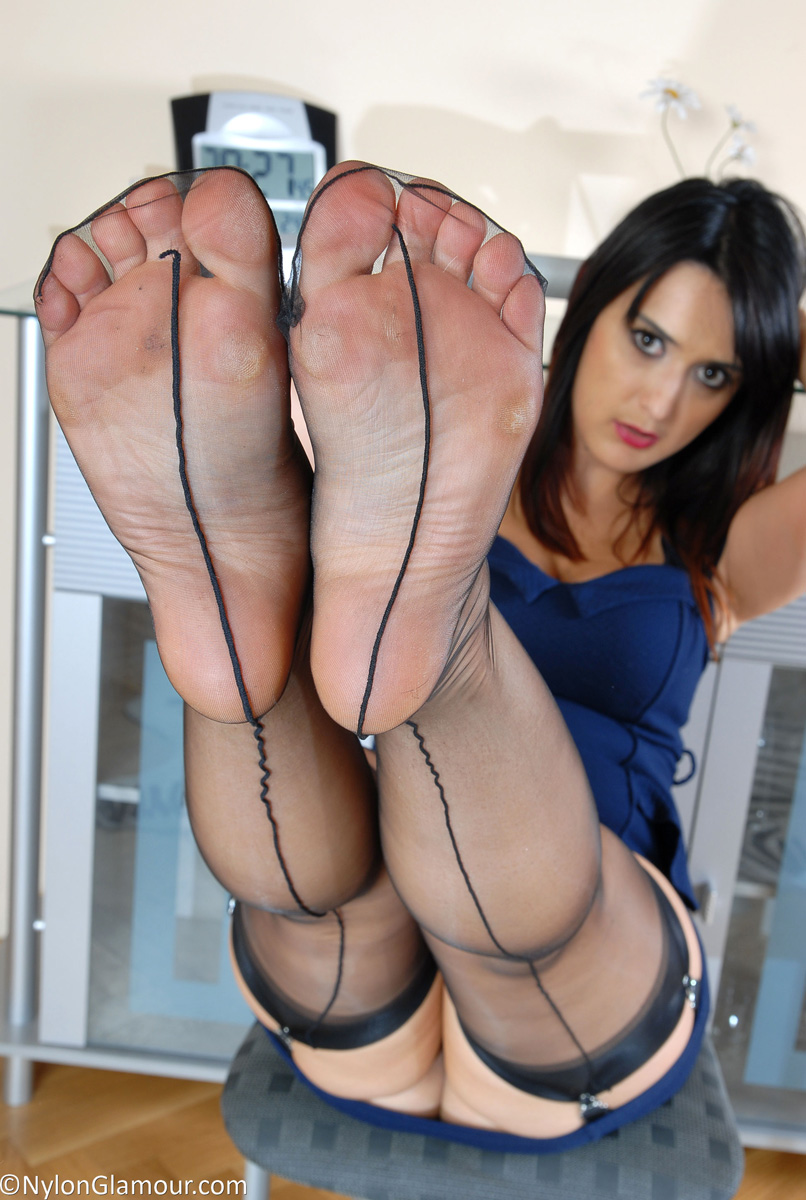 What necessary Nylon feet legs tease